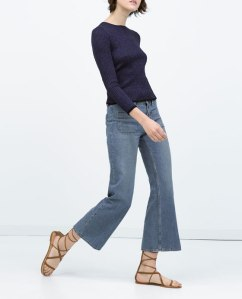 Zara short flared jeans