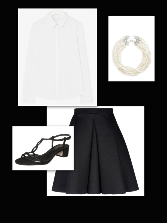 Black skirt + white fitted shirt + black mid- heels + pearl necklace