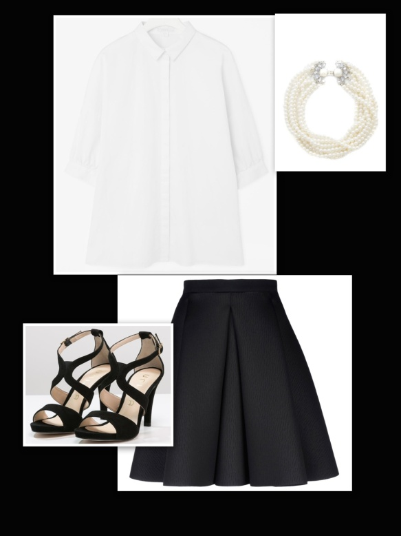 Black skirt + white shirt + black heels + pearl necklace