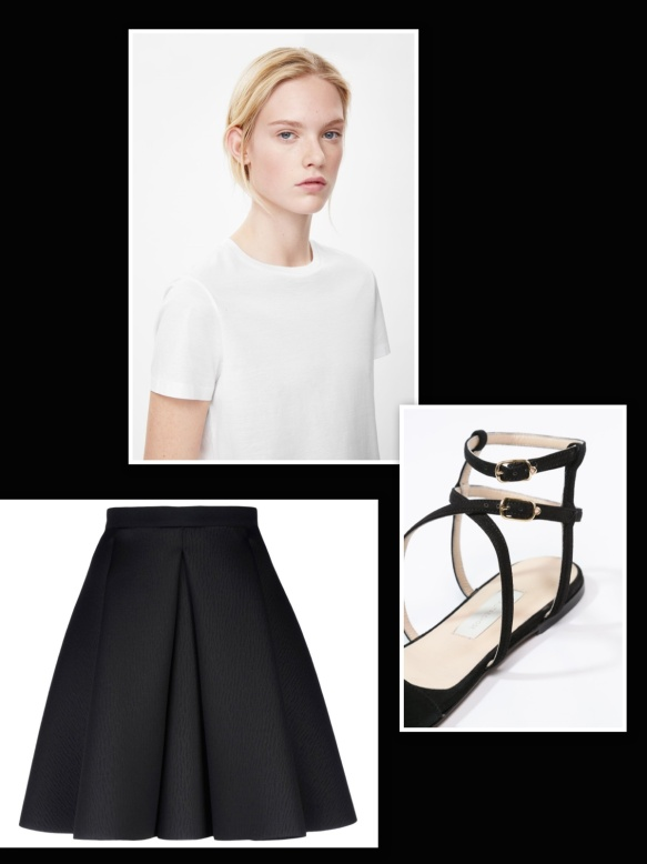 Black skirt + white t-shirt + black flat sandals