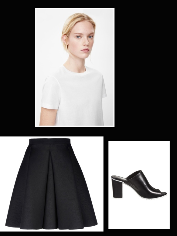 Black skirt + white t-shirt + black mules