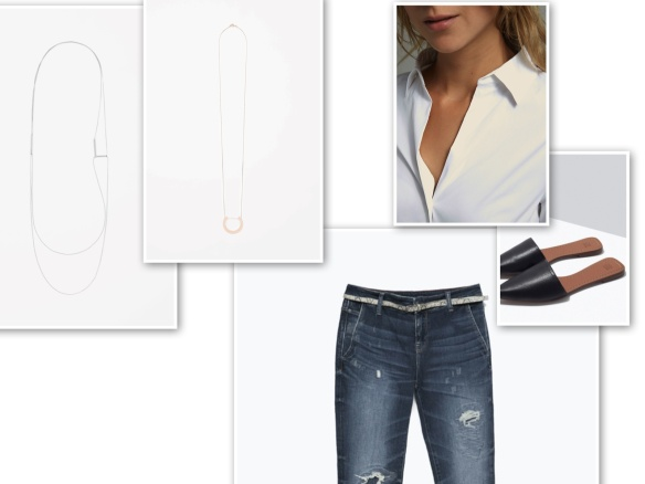 Boyfriend jeans, white shirt, fine necklaces, black mules