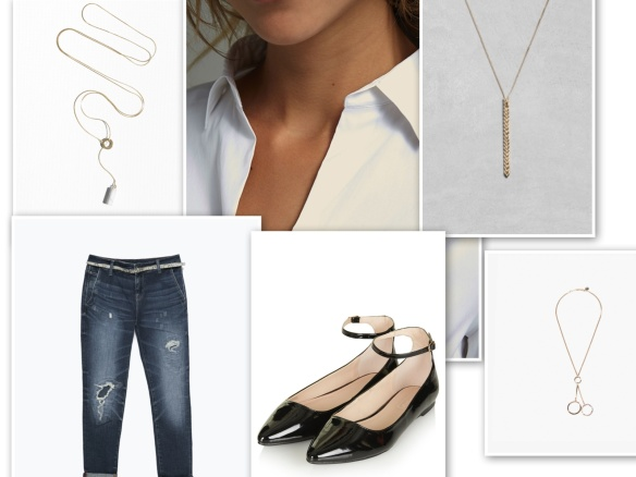 Boyfriend jeans, white shirt, necklace, black shoes