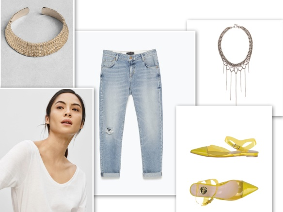 Boyfriend jeans, white t-shirt, necklace, yellow shoes