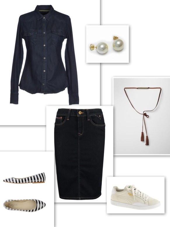 Dark double denim look with skirt