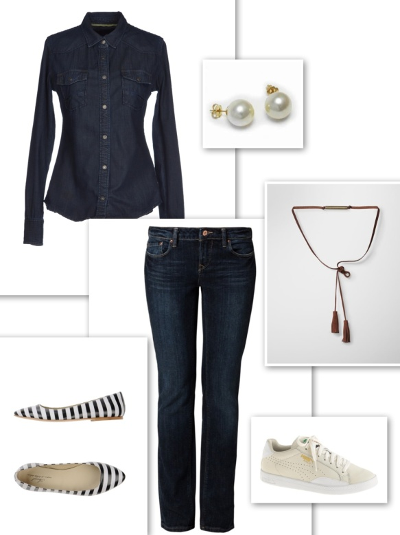 Dark double denim look