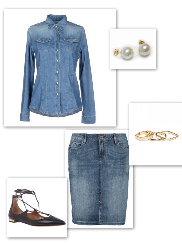 Double denim look with skirt