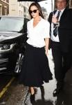 Loose white shirt + low waist wide skirt