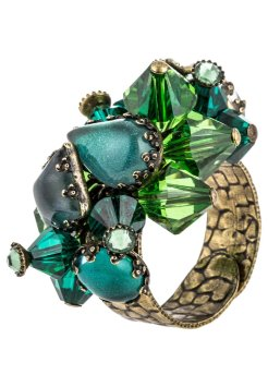 Konplott JELLY FISH WEDDING - Ring - dark green antique brass