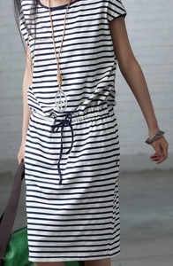 stripe-printing-calf-length-dress-with-drawstring-ties