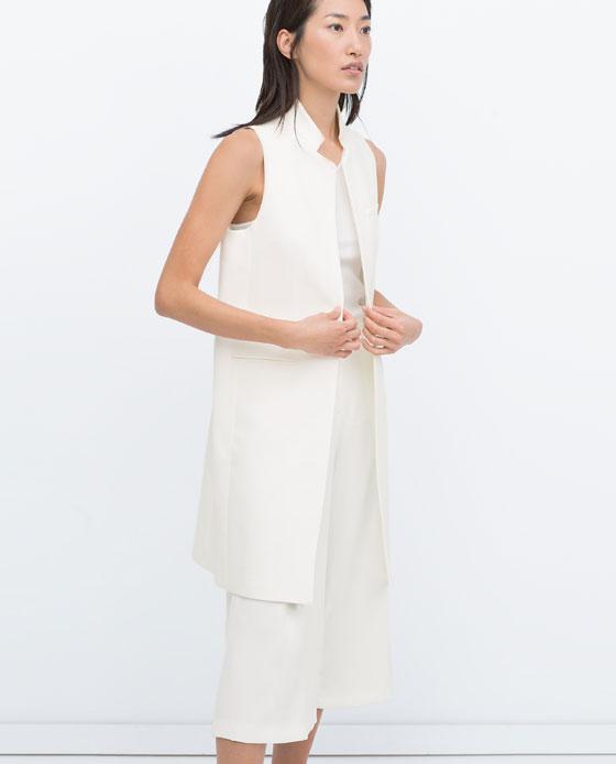 Zara Long waistcoat off white