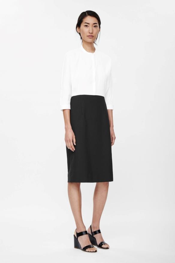 COS CONTRAST SHIRT DRESS white&black