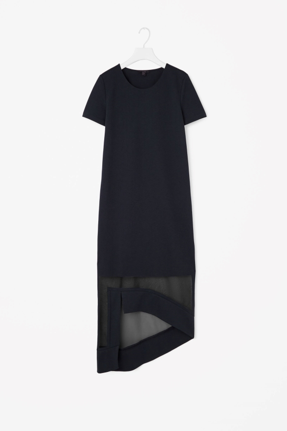 COS SHEER-HEM DRESS navy