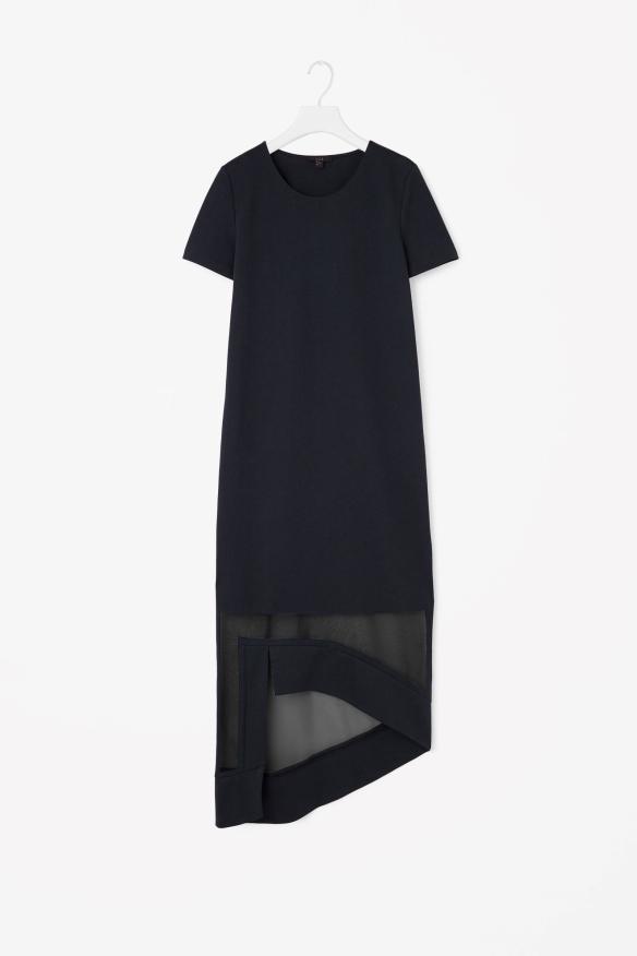 COS SHEER-HEM DRESS navy