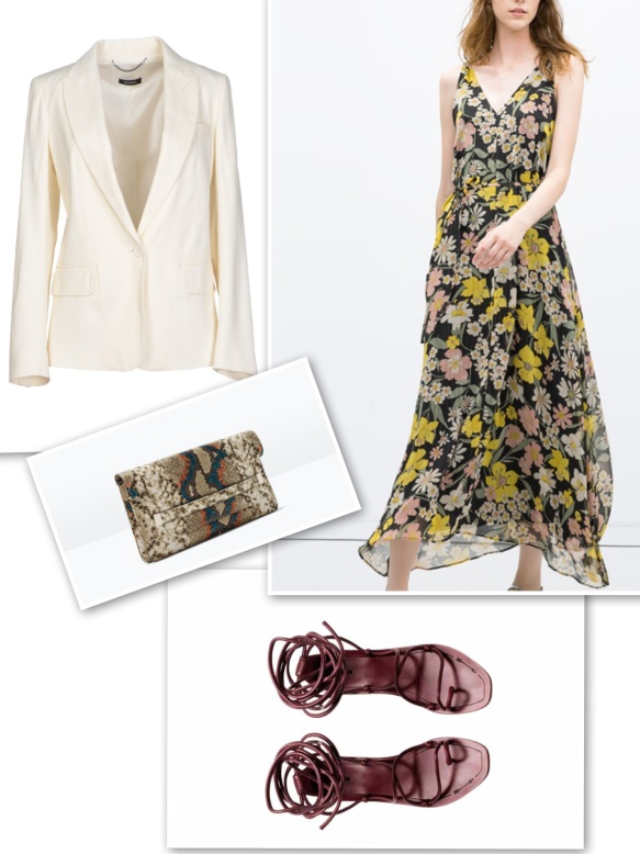 White blazer+ floral print dress