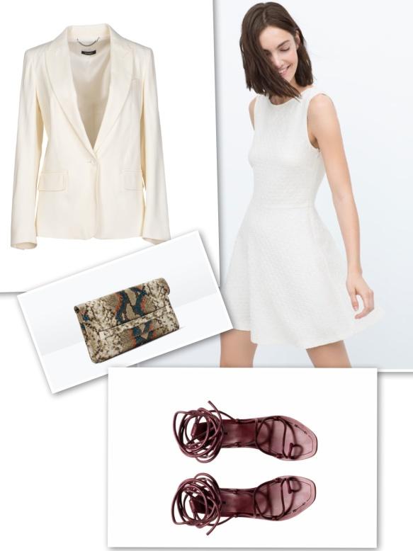White blazer+ white short dress