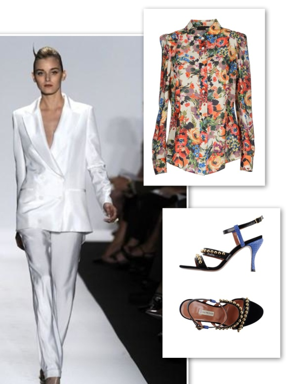White suit + floral shirt + unusual sandals