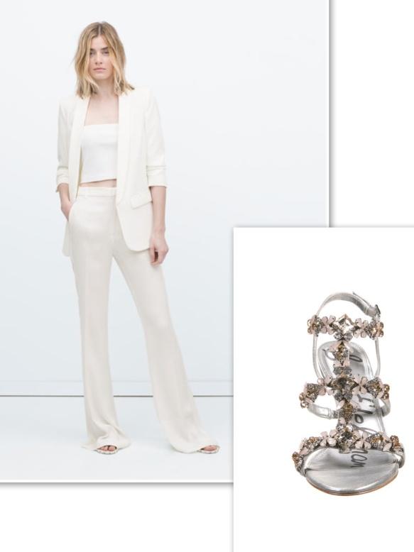 White suit + unusual sandals
