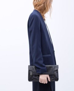 Zara Embossed clutch black
