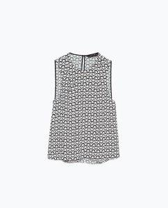 Zara Geometric print top. Sleeveless blk & white