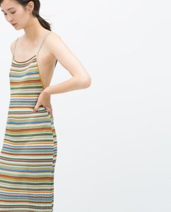 Zara Striped multicloured dress with pleats