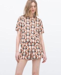 Zara top and matching High waist printed shorts