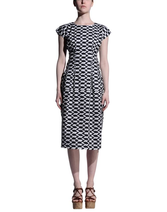 8 3/4 length dress black/white pattern