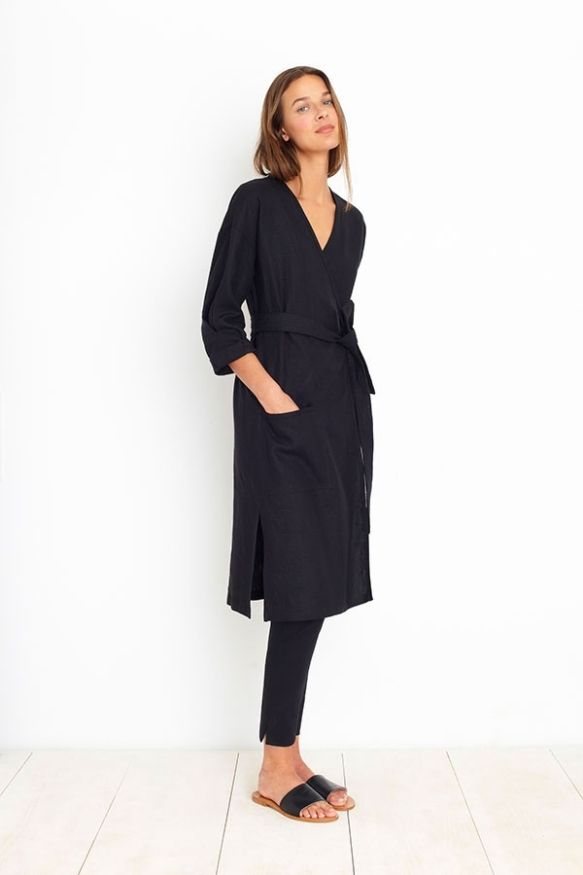 Apiece Apart AMORGOS WRAP DRESS - BLACK