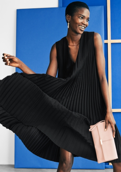 &Other Stories MIDI PLEATED DRESS black