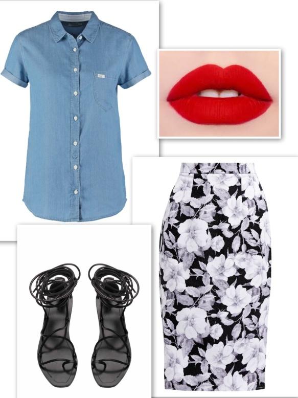 Denim shirt + floral skirt + red lipstick