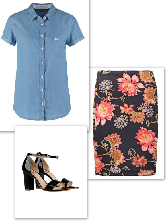 Denim shirt + floral skirt