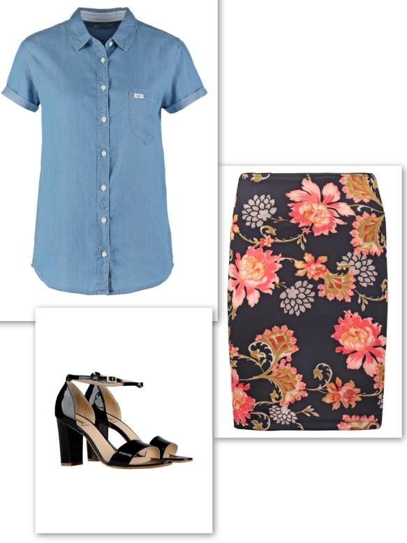 Denim shirt + floral skirt