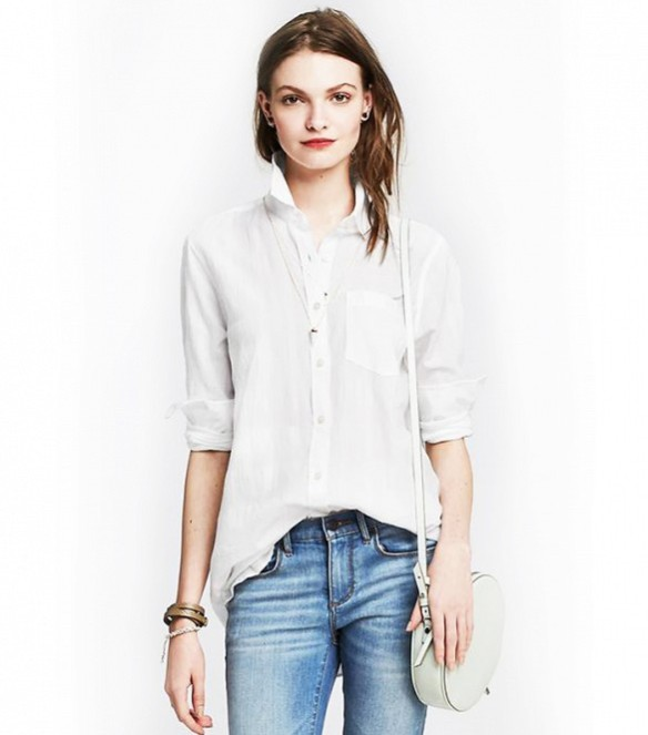White shirt half tucked in jeans