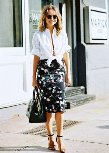 White shirt with floral print skirt
