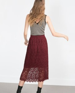 Zara lace MIDI SKIRT burgundy