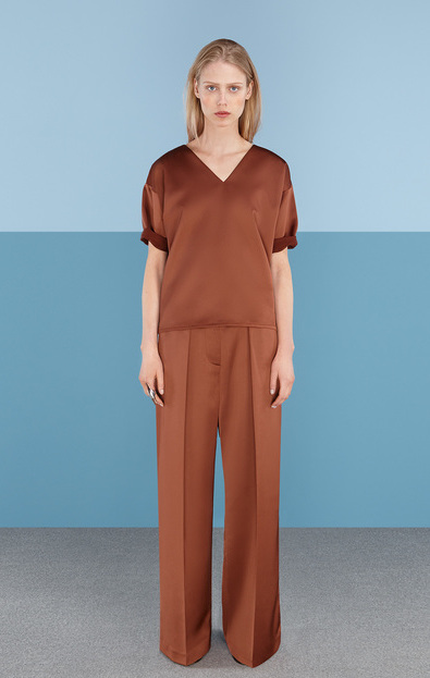 Finery Hargrave Satin Wide Leg Trousers in rust