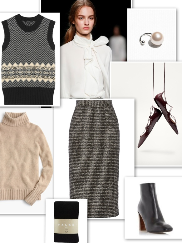 British look with tweed skirt, fair isle vest, pussy-bow blouse