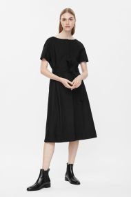 COS BELTED WOOL DRESS black
