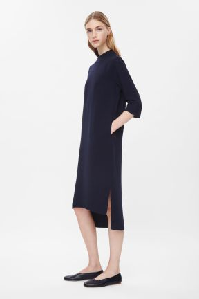 COS RAW-EDGE LONG DRESS navy