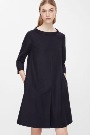 COS WIDE-NECK WOOL DRESS navy