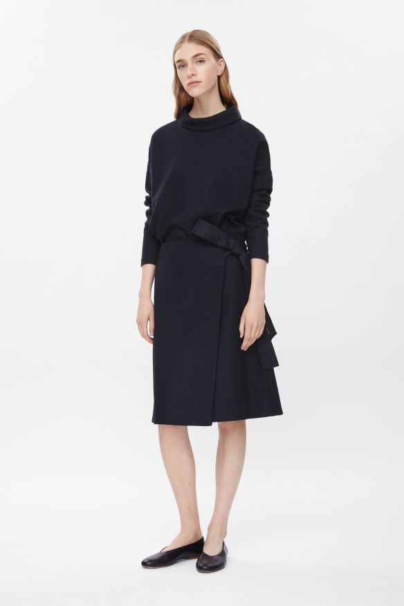 COS WRAP-FRONT WOOL SKIRT black