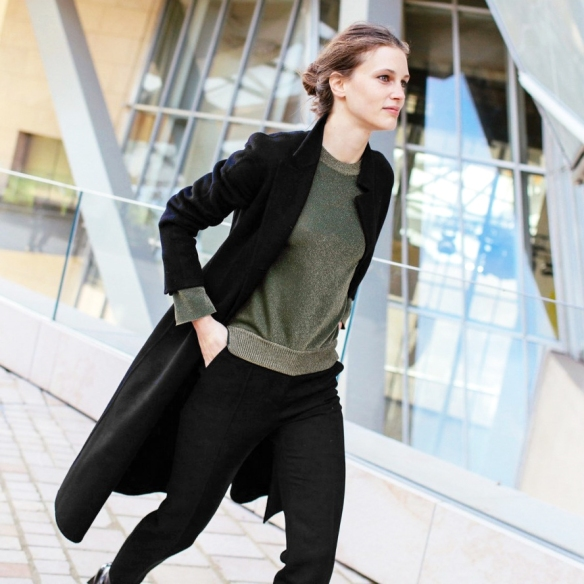 Le-Fashion-Blog-Marine-Vacth-Metallic-Green-Sweater-Black-Coat-Cropped-Pants-Patent-Boots