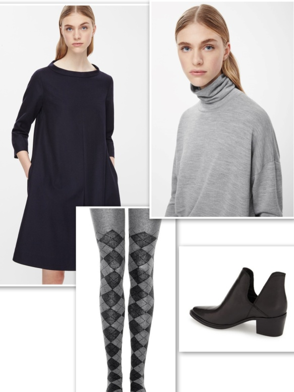 Short sleeves dress + long sleeves top + fun tights + ankle boots