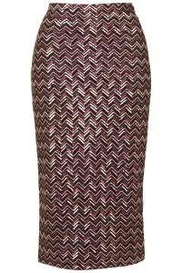 TopShop Chevron Sequin Tube Skirt