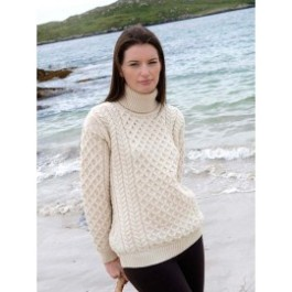 Aran crafts MERINO POLO NECK SWEATER