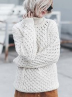 Aran sweater market MERINO WOOL TURTLENECK SWEATER worn by Mikutas