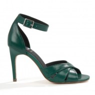 ATTERLEY Green Soho Leather Twist Sandal