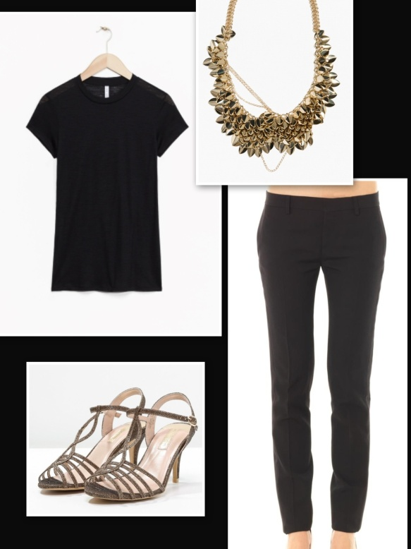 Black t-shirt + black trousers + gold necklace and sandals