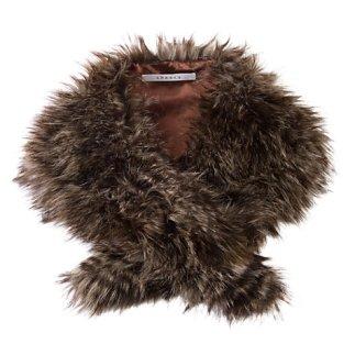Chesca Mink Brown Raccoon Fur Scarf, Brown