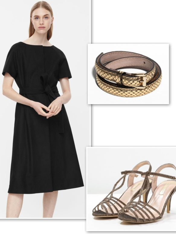 COS black dress with gold for evening